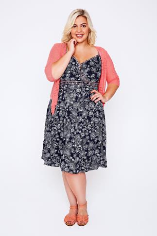 BURNHAM BAY Navy Floral Print Dress With Pink Stitch Detail