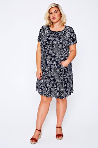 BURNHAM BAY Navy Floral Print Swing Dress