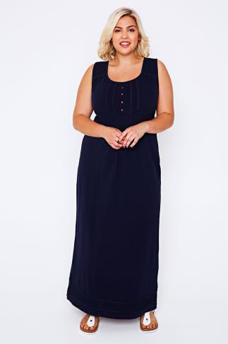 BURNHAM BAY Navy Sleeveless Jersey Maxi Dress With Crochet & Embroidery Detail