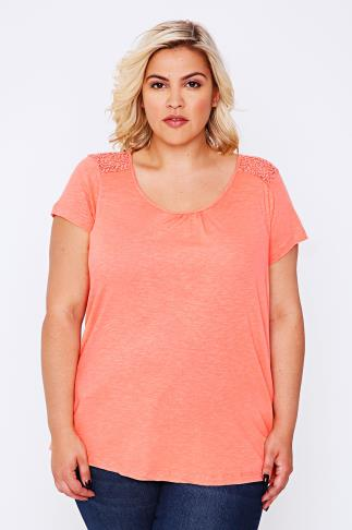 BURNHAM BAY Peach Crochet Detail Top