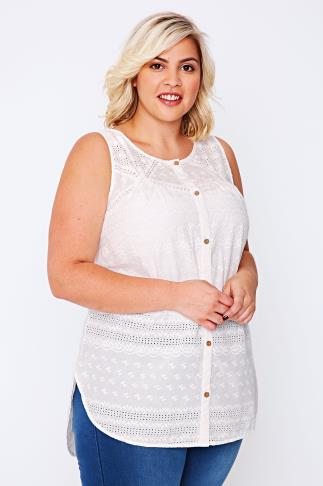 BURNHAM BAY White Embroidered Detail Sleeveless Blouse