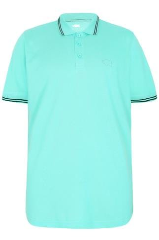 BadRhino Aqua Blue Polo Shirt With White Stripe Detail