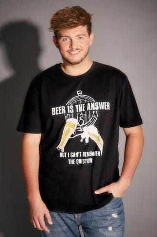 T-Shirts BadRhino Black Beer Is The Answer Slogan T-Shirt - TALL 200049
