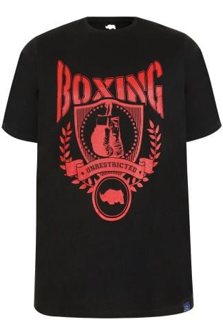 "T-Shirts BadRhino Black ""Boxing"" Print T-Shirt With Crew Neck 200451"