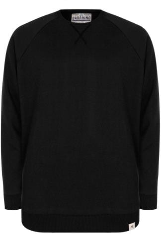 BadRhino Black Crew Neck Raglan Basic Sweatshirt - TALL