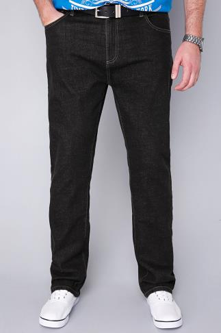 Straight BadRhino Black Stonewash Denim Straight Leg Jeans - TALL 100354BLACT