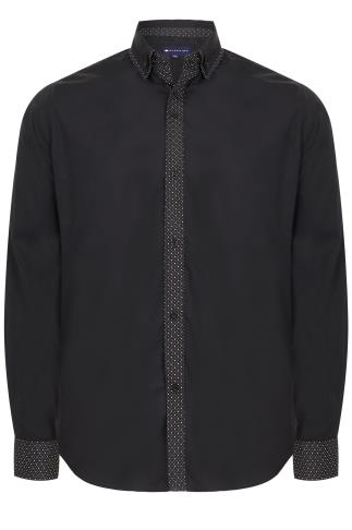BadRhino Black Double Collar Smart Shirt With Patterned Finish
