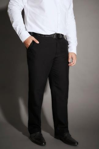 Tall Trousers & Chinos BadRhino Black Single Pleat Smart Trousers - TALL 200288