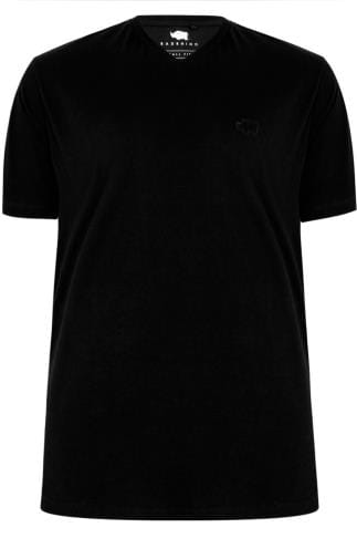 BadRhino Black V-Neck Basic T-Shirt - TALL