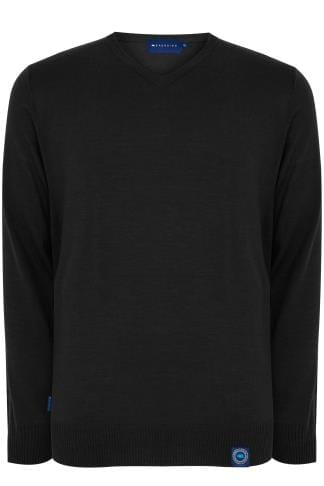 BadRhino Black V-Neck Fine Knit Jumper