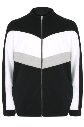 Black, White & Grey Colourblock Zip Up Sweatshirt