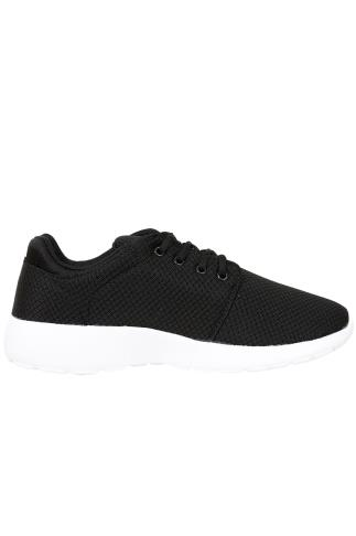 Trainers & Plimsolls  Black & White Lightweight Woven Trainer 101881