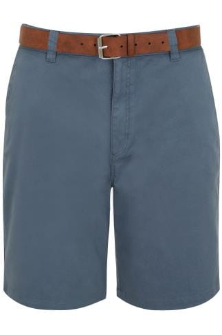 BadRhino Blue Chino 5 Pocket Shorts With Tan Brown Belt