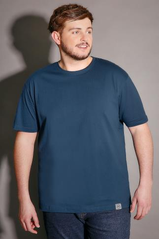 BadRhino Blue Crew Neck Basic T-Shirt