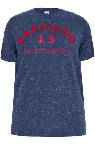 BadRhino Blue Flecked T-Shirt With Applique Slogan - TALL