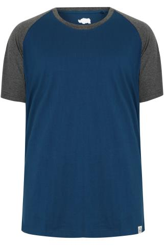 BadRhino Blue & Grey Raglan T-Shirt With Short Sleeves