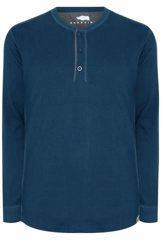 BadRhino Blue Henley Button Detail Cotton Jersey Top