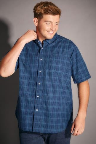 Smart Shirts BadRhino Blue & Navy Mid Grid Check Short Sleeve Shirt - TALL 200247
