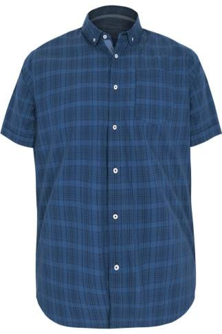BadRhino Blue & Navy Mid Grid Check Short Sleeve Shirt