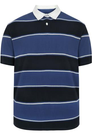 BadRhino Blue & Navy Striped Short Sleeve Polo Shirt