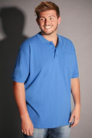 Polo Shirts BadRhino Blue Plain Polo Shirt - TALL 055142