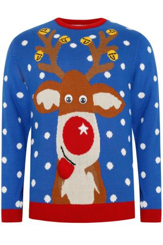 BadRhino Blue Reindeer Novelty Christmas Jumper