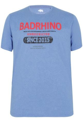 "BadRhino Blue ""Unrestricted"" Slogan T-Shirt - TALL"