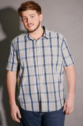 Casual Shirts BadRhino Blue & White Check Short Sleeve Cotton Shirt - TALL 110124