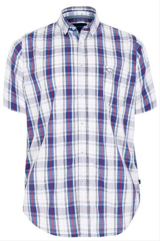 BadRhino Blue & White Large Grid Check Short Sleeve Shirt - TALL