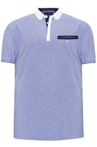 BadRhino Blue & White Marl Short Sleeve Polo Shirt With White Trims
