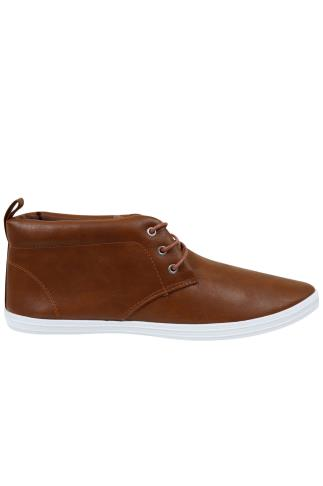 Brown PU Chukka Lace Up Boots