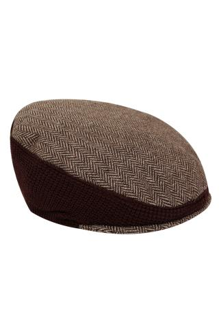 Hats & Scarves BadRhino Brown Patterned Stretch Flat Cap 102874