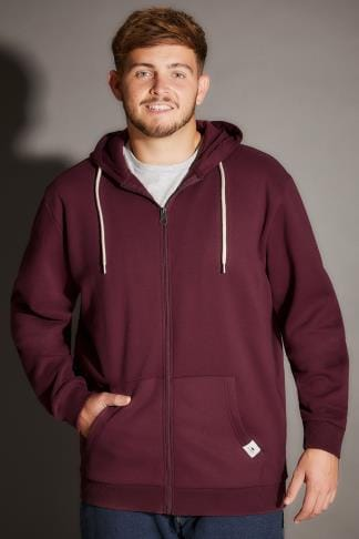 Hoodies BadRhino Burgundy Basic Sweat Hoodie With Pockets - TALL 200184
