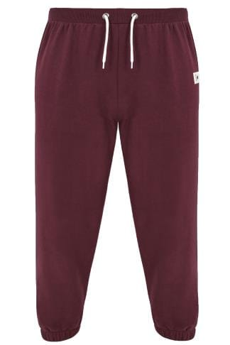 BadRhino Burgundy Basic Sweat Joggers With Pockets - TALL