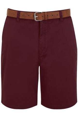 BadRhino Burgundy Chino 5 Pocket Shorts With Tan Brown Belt