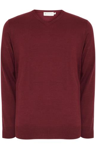 BadRhino Burgundy Fine Knit V Neck Jumper - TALL