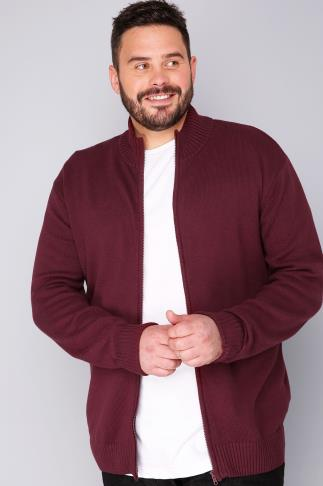 BadRhino Burgundy Knitted Zip Sweater With Funnel Neck