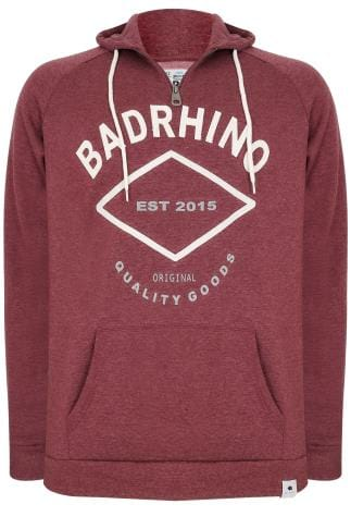 BadRhino Burgundy Marl Applique Logo Detail Hoodie - TALL