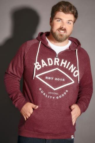 Hoodies BadRhino Burgundy Marl Applique Logo Detail Hoodie - TALL 200205