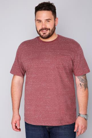 T-Shirts BadRhino Burgundy Marl Short Sleeved Pocket T-Shirt 110226