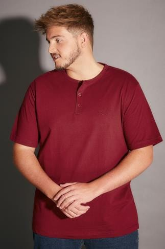 BadRhino Burgundy Short Sleeve Grandad T-Shirt