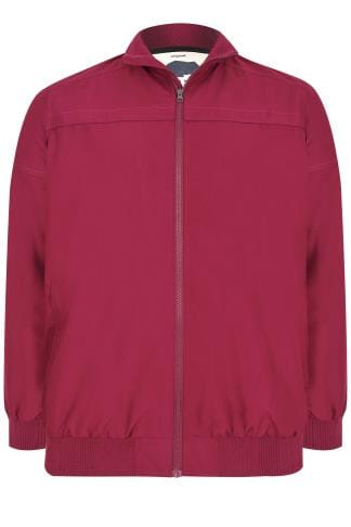 Tall Coats & Jackets BadRhino Burgundy Suedette Harrington Bomber Jacket - TALL 200309