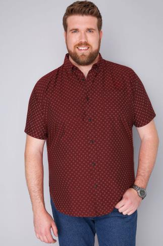BadRhino Burgundy & White Printed Short Sleeve Shirt