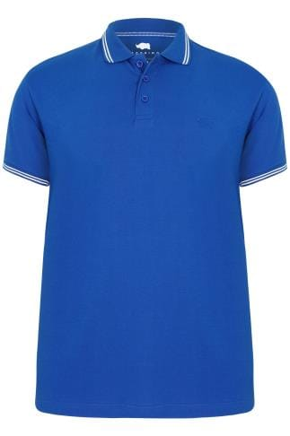 Polo Shirts BadRhino Cobalt Blue Polo Shirt With White Stripe Detail 200114