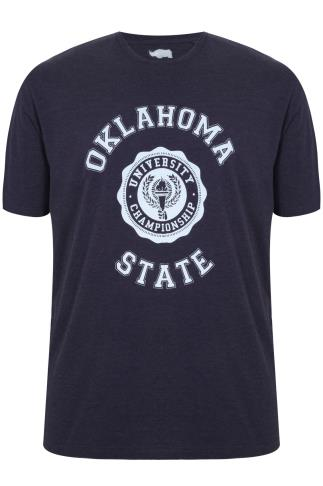 BadRhino Dark Denim Blue 'Oklahoma' Printed Crew Neck T-Shirt