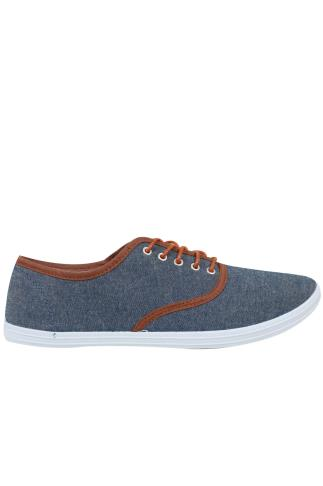 Denim Blue Canvas Lace Up Plimsolls