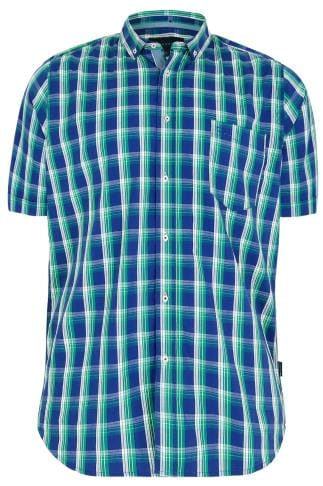 BadRhino Green & Blue Large Large Grid Check Short Sleeve Shirt - TALL