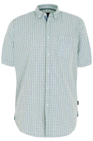 BadRhino Green & White Small Grid Check Short Sleeve Shirt - TALL