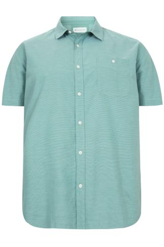 BadRhino Green & White Stitch Detail Short Sleeve Shirt