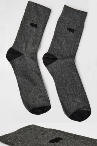 BadRhino Grey Socks With Black Contrast Heel & Toe